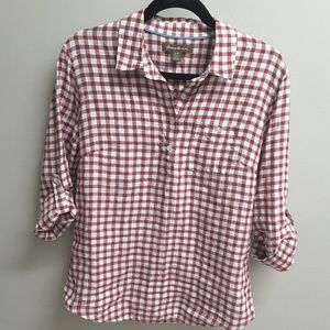 Tommy Bahama Checkered Popover Blouse top Sz SP